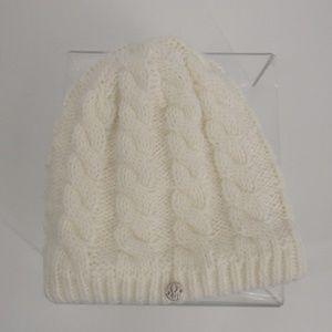 Spyder Off-White Knit Beanie Hat w/Charm Adult